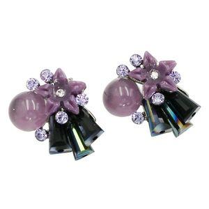 sweet crystal ball shell flower earrings
